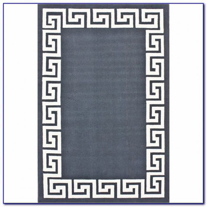 Greek Key Rug Navy