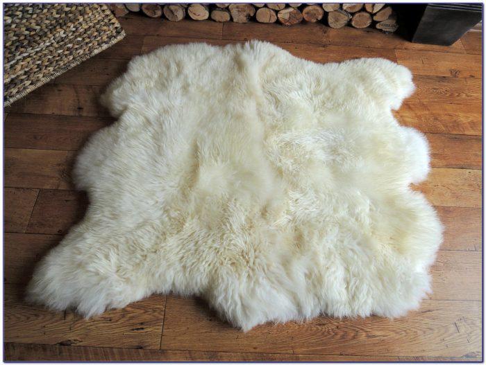 White Sheepskin Rug Rectangle