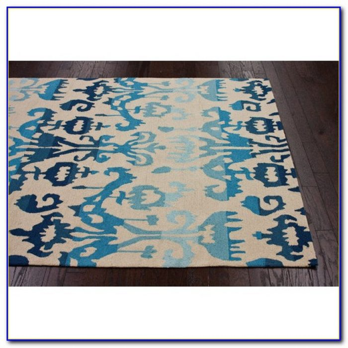 Blue Green Ikat Rug