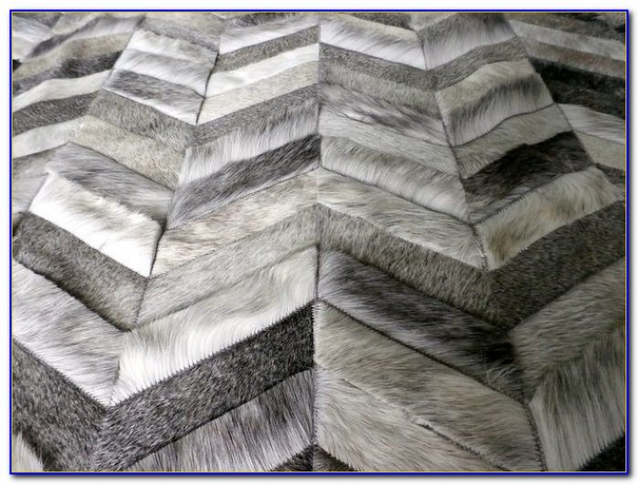 Cowhide Patchwork Rug Gray