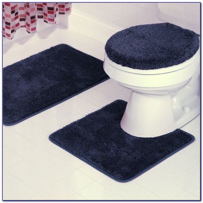 Navy Blue And White Bathroom Rugs