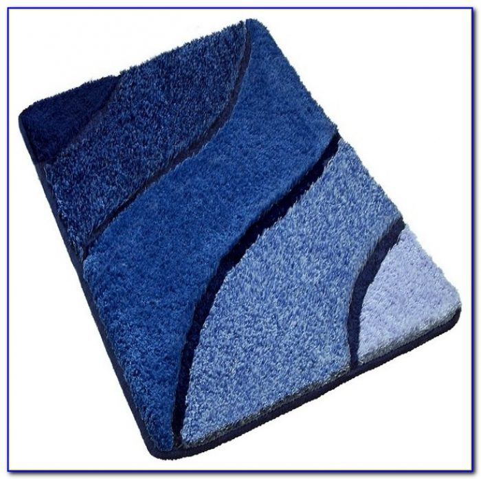 Navy Blue Reversible Bath Rugs