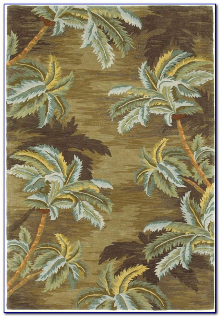Palm Tree Bathroom Rug Set