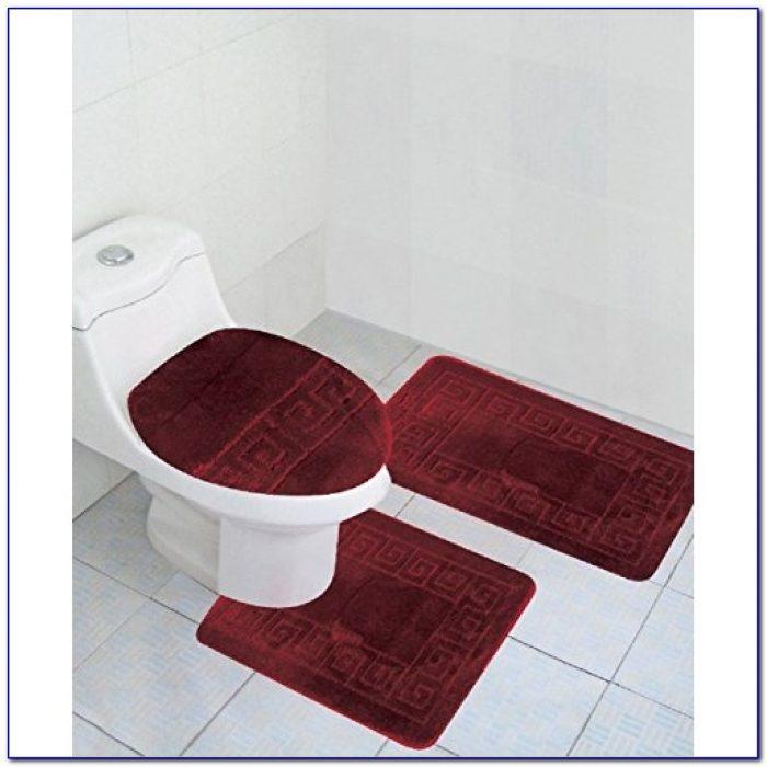 Burgundy Color Bath Rugs