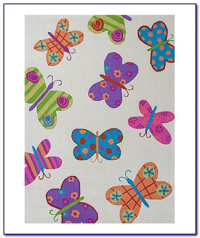 Pink Butterfly Area Rug