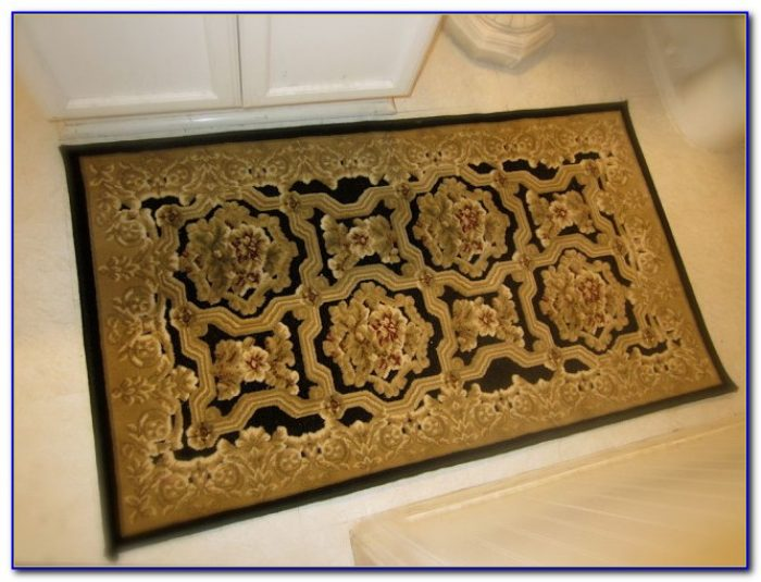Red And Gold Bathroom Rugs
