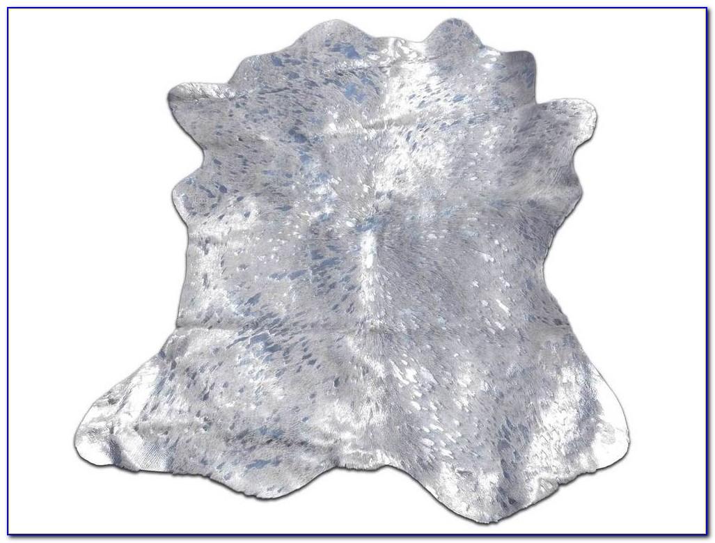 Silver Metallic On White Cowhide Rug