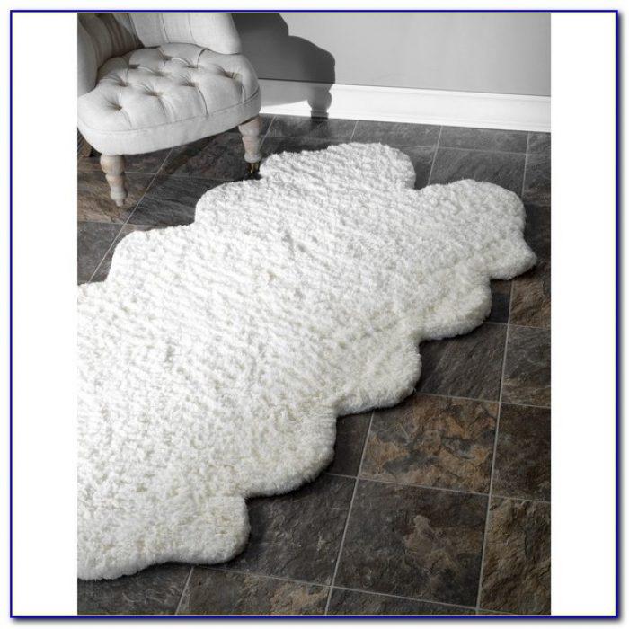 White Faux Fur Rug 5×7