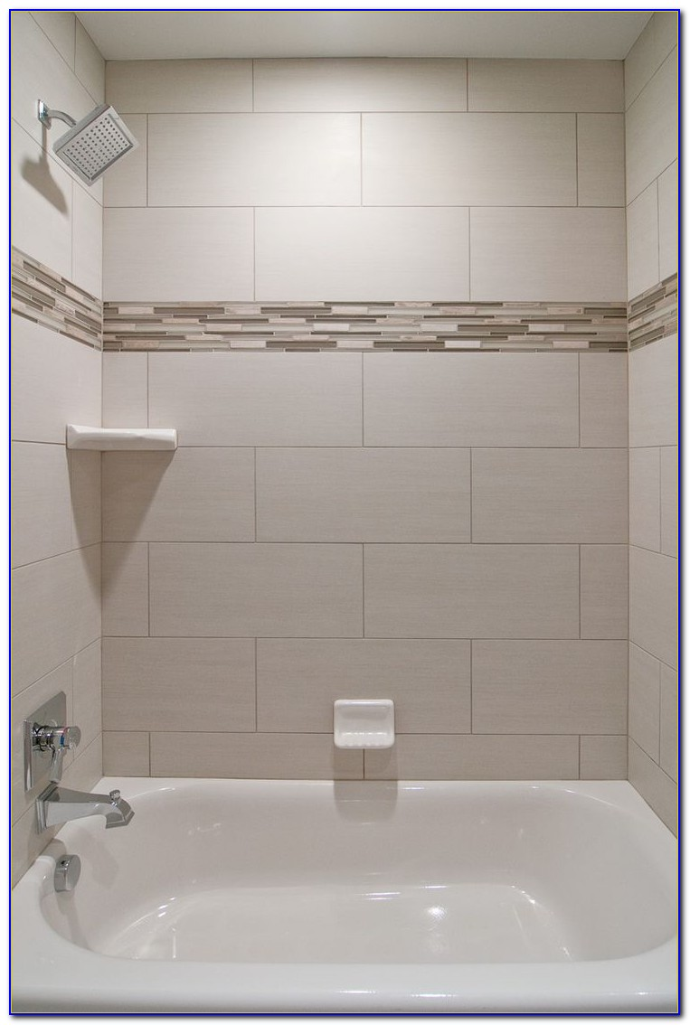 Accent Tile Strip In Shower Tiles Home Design Ideas