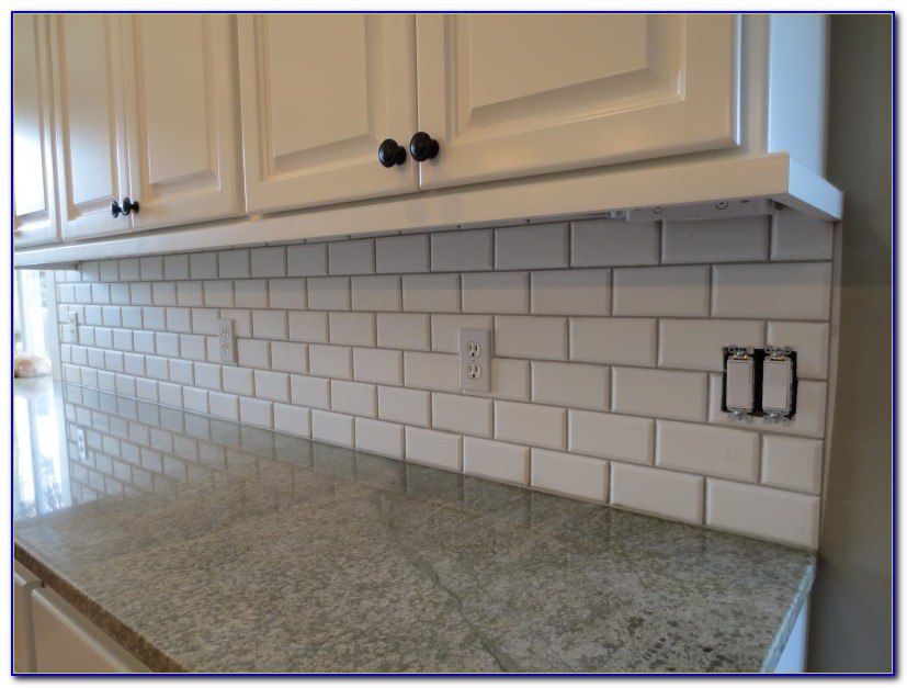 Beveled Marble Subway Tile Backsplash