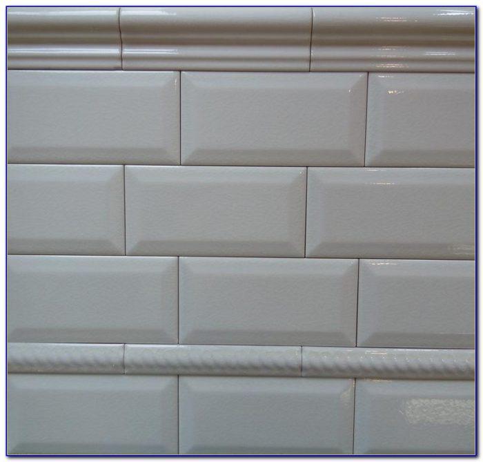 Beveled White Subway Tile Bathroom