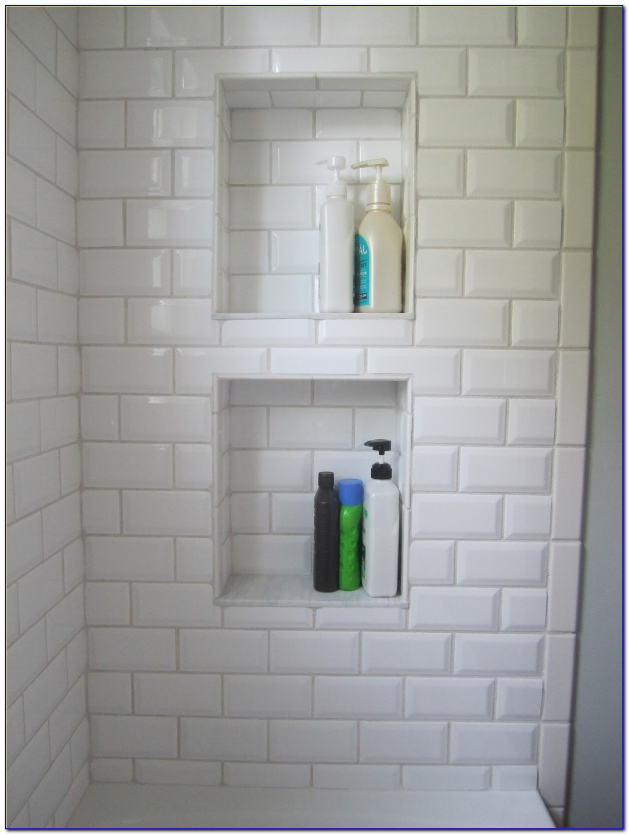 White Beveled Subway Tile With Grey Grout Designs