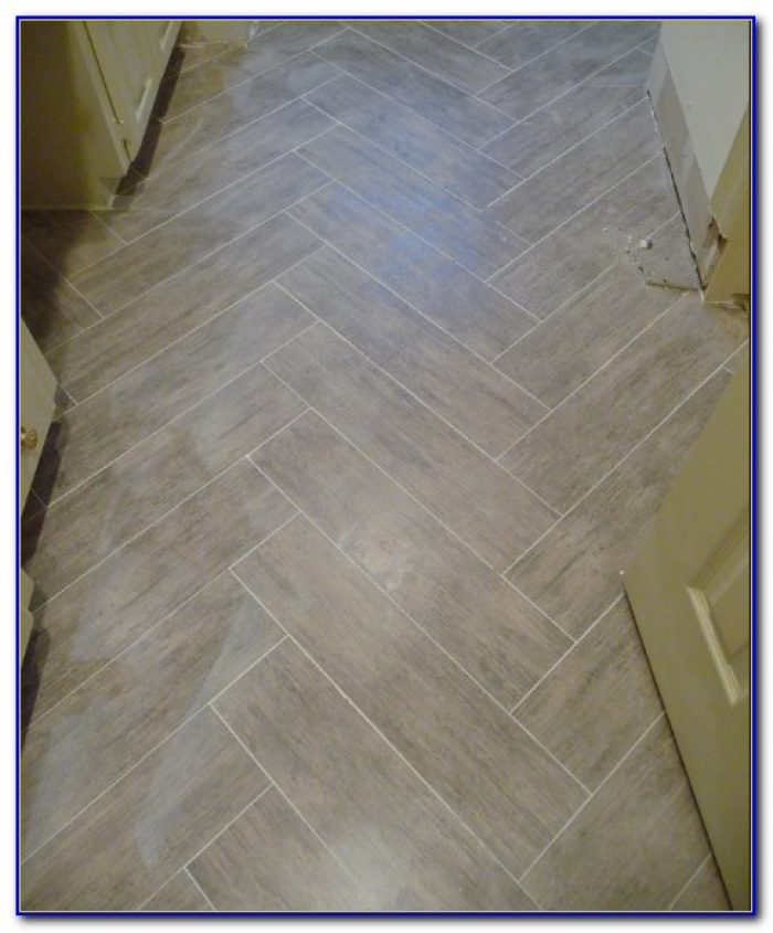 Herringbone Pattern Wood Look Tile Floor