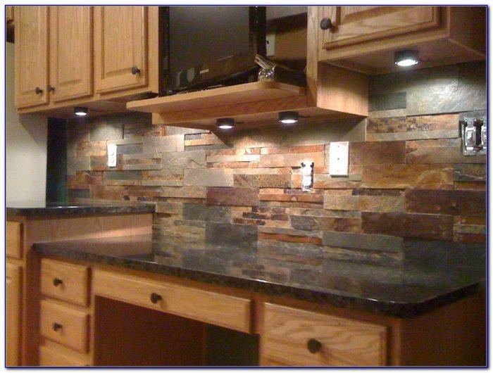 Natural Stone And Glass Tile Backsplash