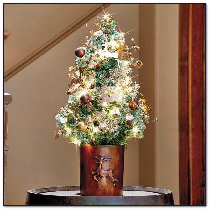 Pre Lit Decorated Tabletop Christmas Trees