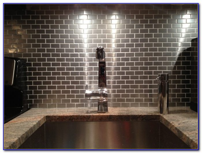 Stainless stick on tile backsplash tiles home design for Stainless steel subway tile backsplash peel and stick