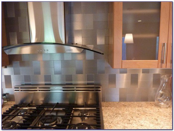 Stick On Metallic Tile Backsplash