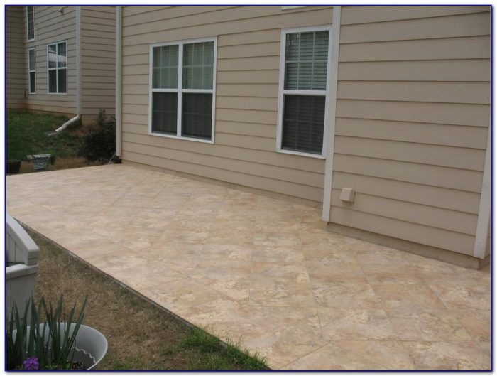 Travertine Tile Over Concrete Patio