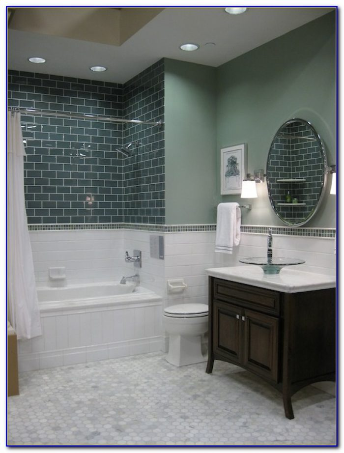 White Glass Subway Tile Shower