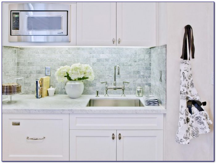 White Marble Subway Tile Backsplash