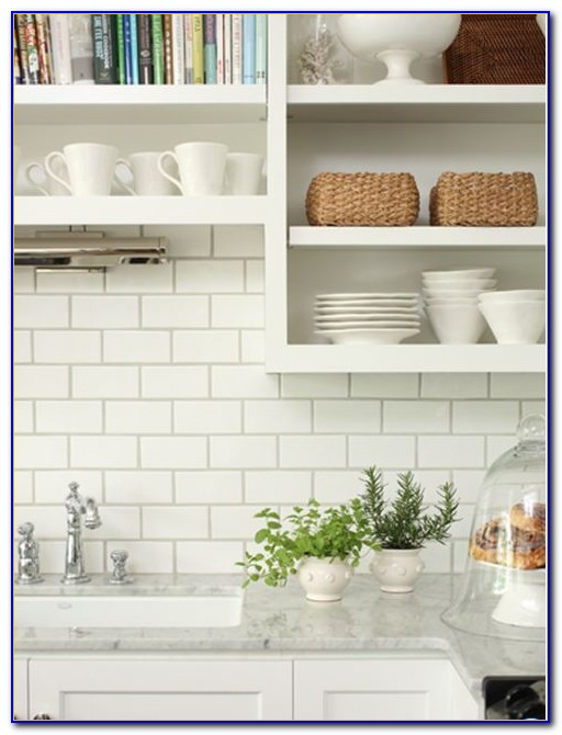 White Subway Tile Backsplash With Granite Countertops