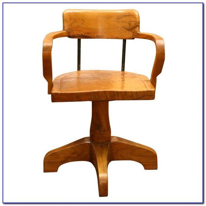 Antique Wood Swivel Desk Chair