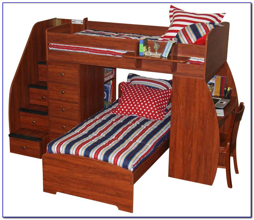 Bunk Bed With Desk And Stairs Plans Download Page Home