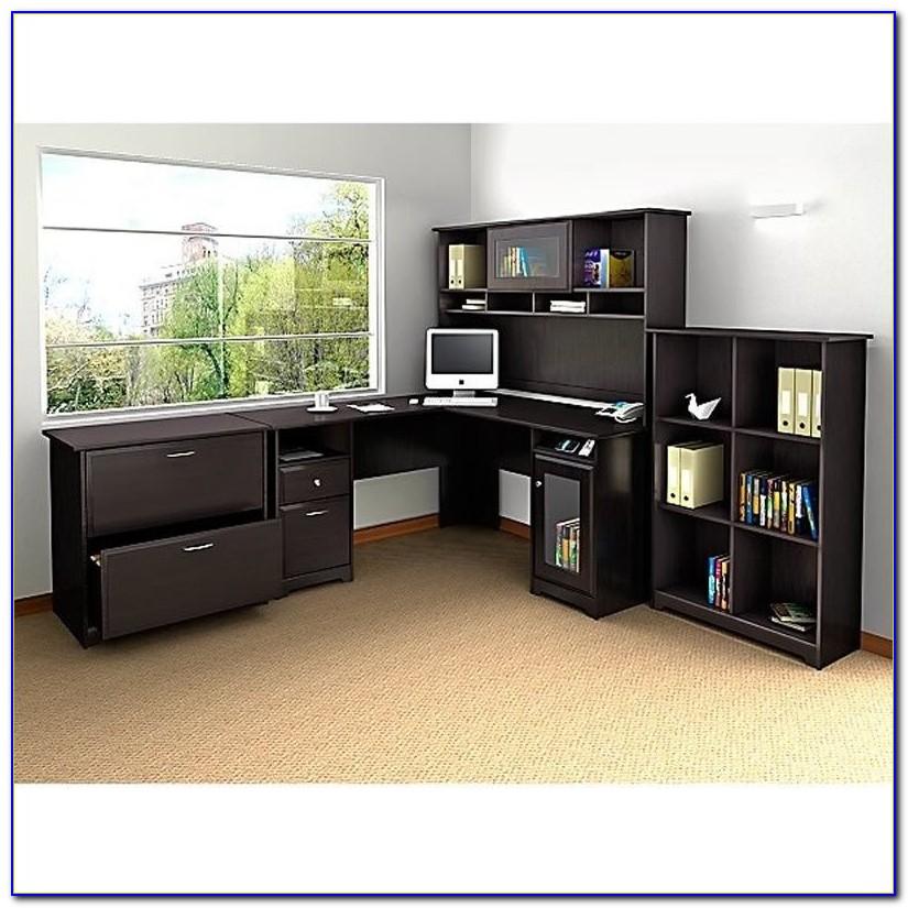 Bush Cabot L Shaped Desk Heather Gray