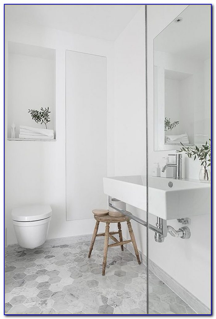 Carrara Marble Hexagon Tile Bathroom