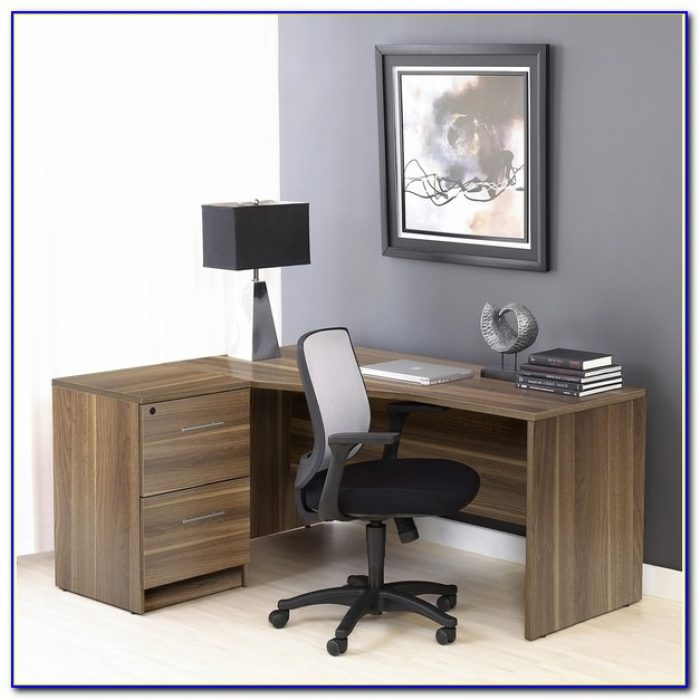Contemporary Black L Shaped Writing Desk With File Cabinets