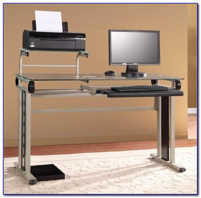 White desk with printer shelf desk home design ideas for Desk for computer and printer