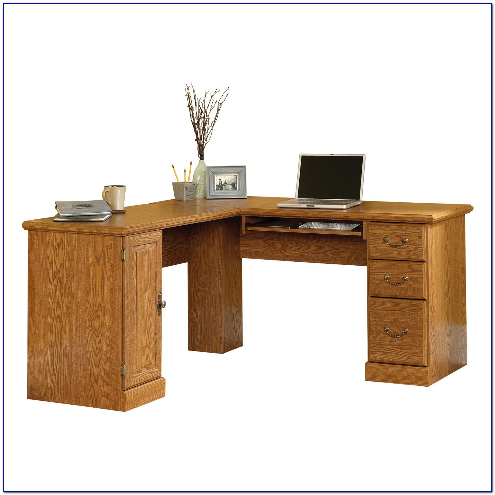 harbor desk computer sauder corner with products view hutch