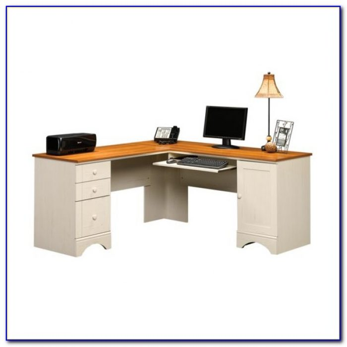 Sauder Harbor View Computer Desk With Hutch Salt Oak
