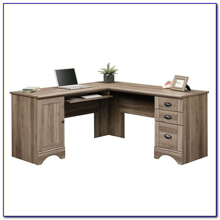 Sauder harbor view salt oak desk with hutch desk home for Oak harbor furniture