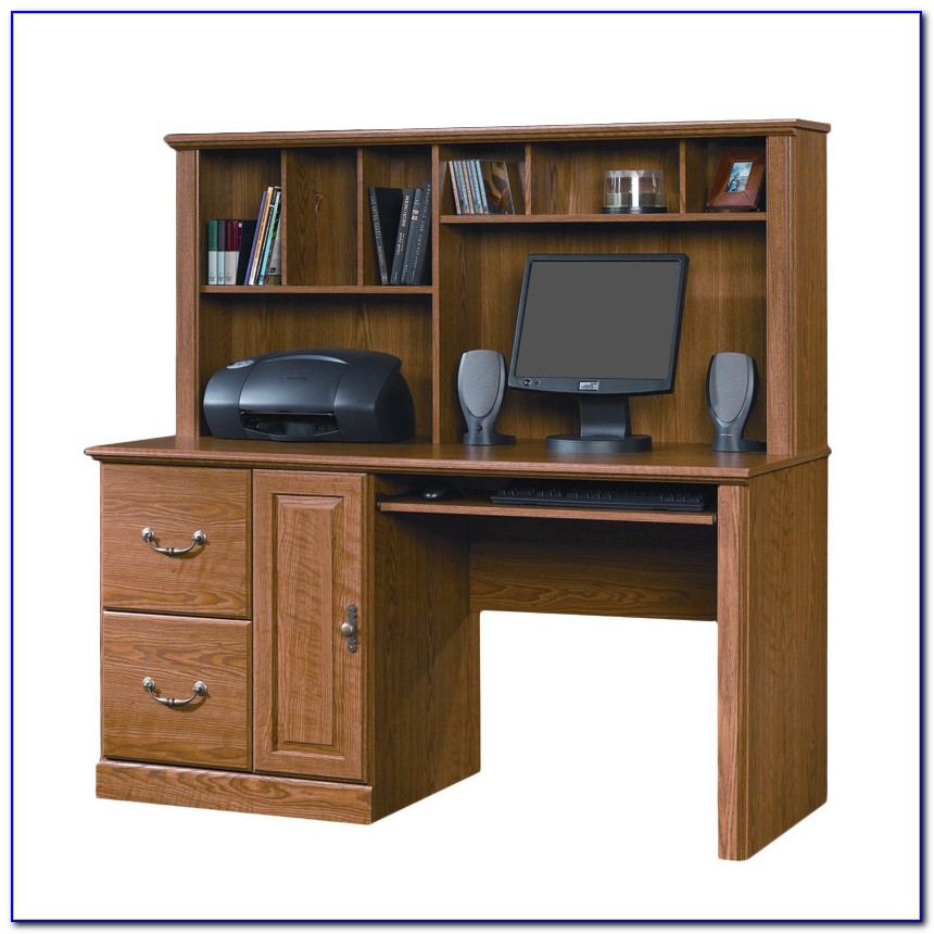 Sauder Orchard Hills Computer Desk With Hutch Carolina Oak