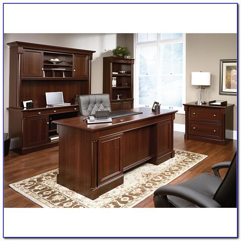 Sauder Palladia Executive Desk In Vintage Oak Desk