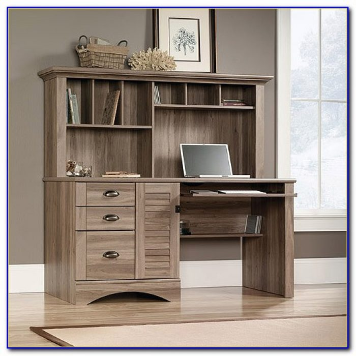 Sauder Corner Desk With Hutch Salt Oak Desk Home