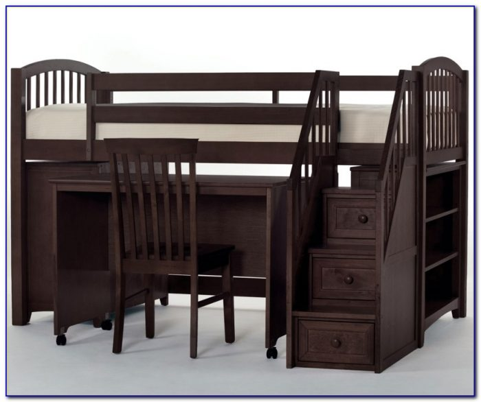 School House L Shaped Bunk Bed With Desk And Stairs