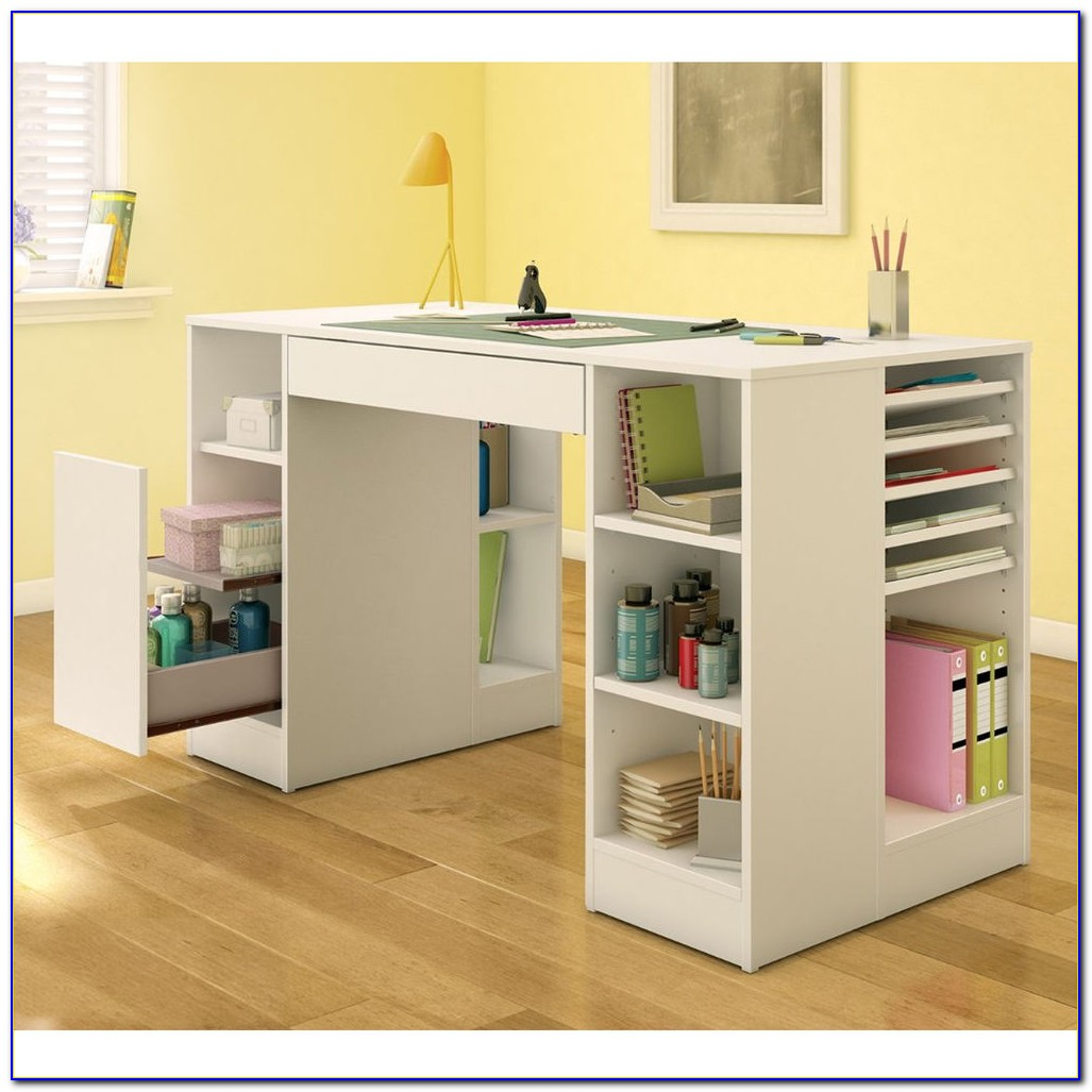 Small craft desk with storage desk home design ideas for Craft desk with storage