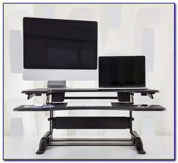 Turn standard desk into standing desk desk home design for Stand up desk conversion ikea