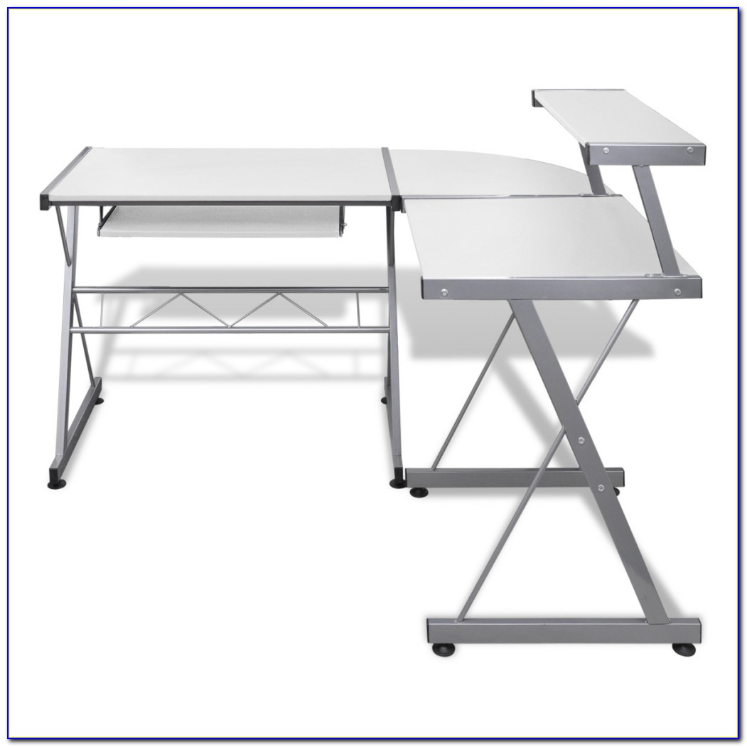 White Computer Desk With Pullout Keyboard Tray Download