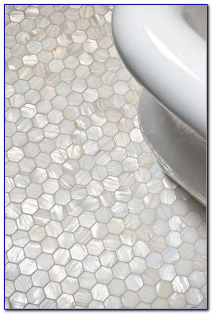 White Mosaic Bathroom Floor Tile