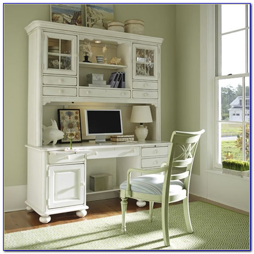 White Wicker Computer Desk With Hutch