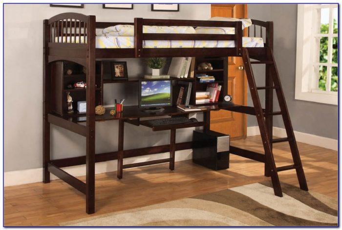 Wood Bunk Bed Loft With Desk