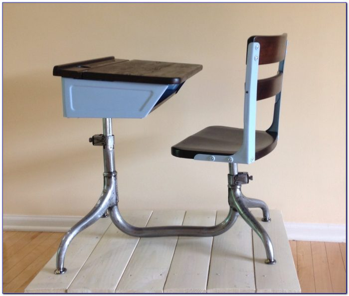 Antique School Desk Chair Combo