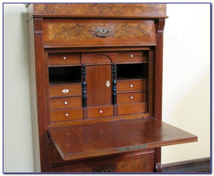 Antique Secretary Desk With Glass Hutch