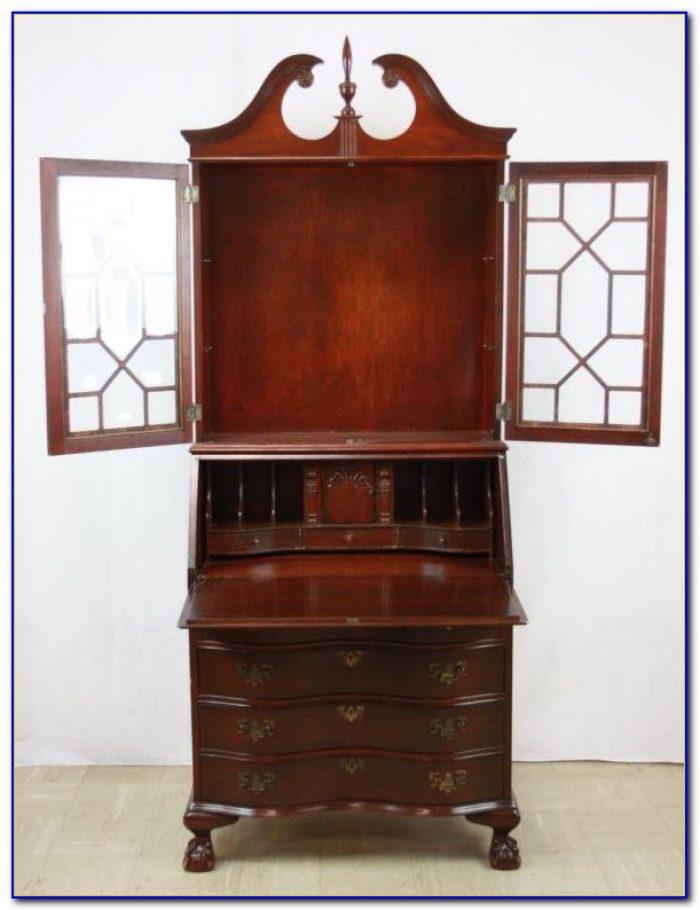 Antique Walnut Secretary Desk With Hutch