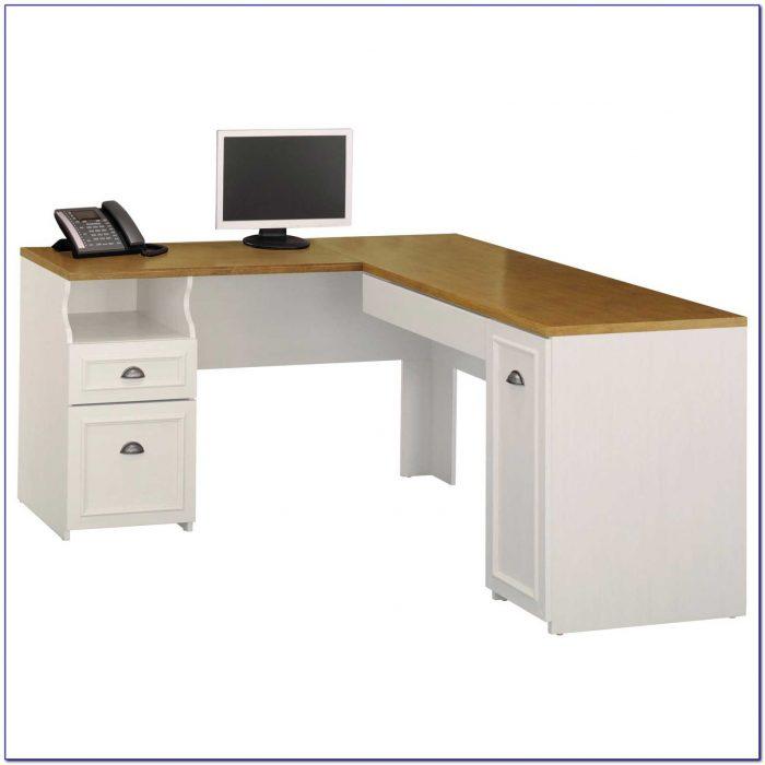 Antique White Corner Computer Desk Workstation & Hutch
