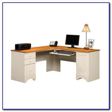 Antique White Corner Writing Desk