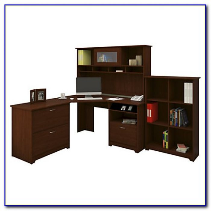 Bush Cabot 60 Corner Computer Desk With Hutch Espresso Oak